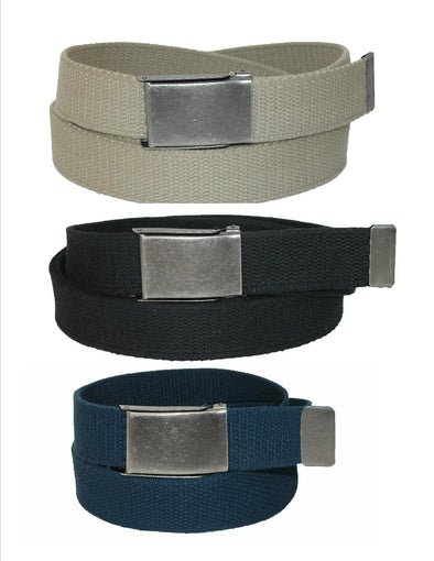 Men's Fabric Belt with Flip Top Nickel Buckle (Pack of 3)