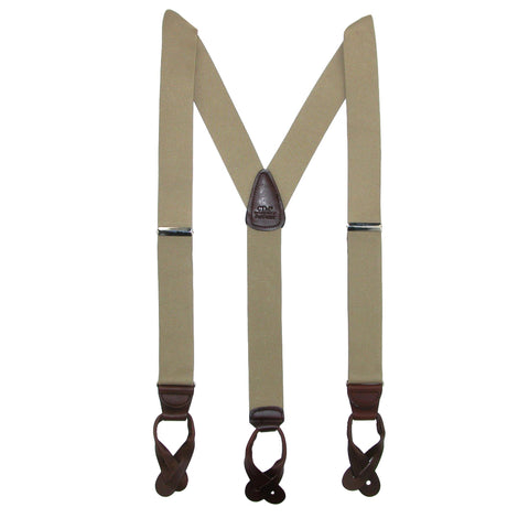 Men's Elastic Button End Dress Suspenders with Silver Hardware