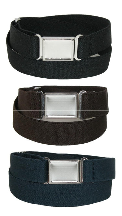 Kids' Elastic Stretch Belt with Magnetic Buckle (Pack of 3 Colors)