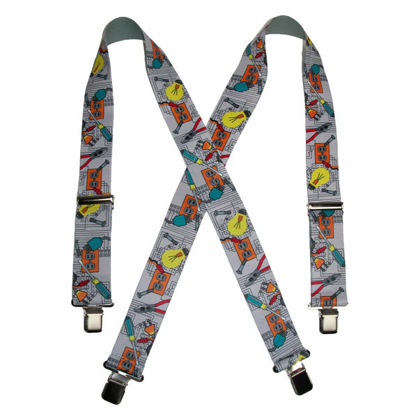 Men's Elastic Clip-End 2 Inch Electrician Work Suspenders