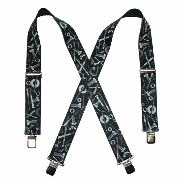 Men's Elastic Clip-End 2 Inch Nuts & Bolts Medley Suspenders