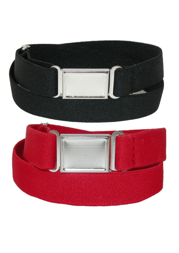 Plus Size Elastic Belt with Magnetic No Show Flat Buckle (Pack of 2 Colors)