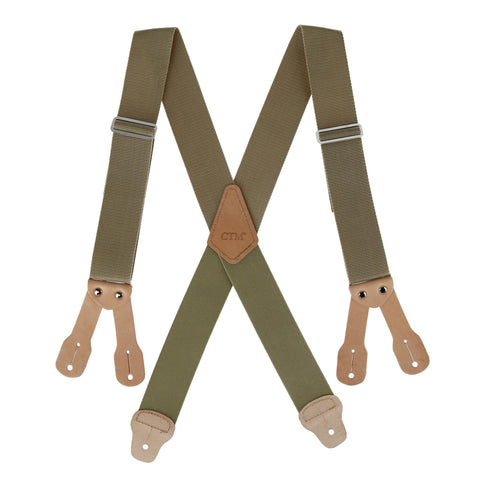 Men's 2 Inch Wide Non-Elasticized Construction Button-End Suspenders
