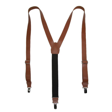 Men's Coated Leather Clip-End 1 Inch Suspenders