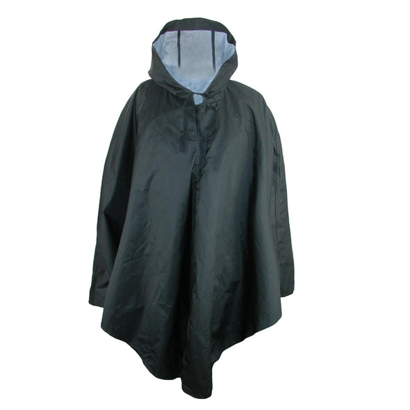 Women's Solid Black Pouchable Poncho