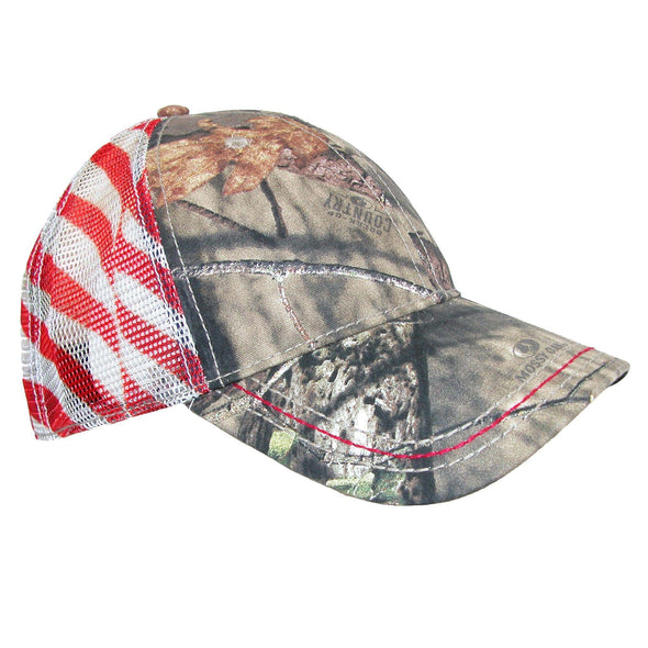 Camo Baseball Cap with Mesh American Flag Back