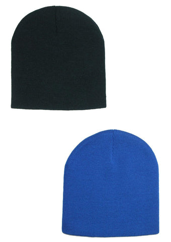 8 Inch Knit Beanie Cap (Pack of 2)