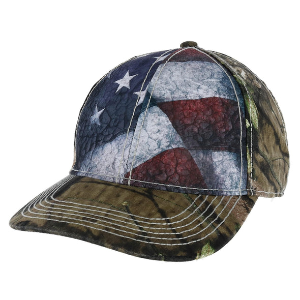 Men's Camo Baseball Cap with American Flag and Sublimated Front Panels