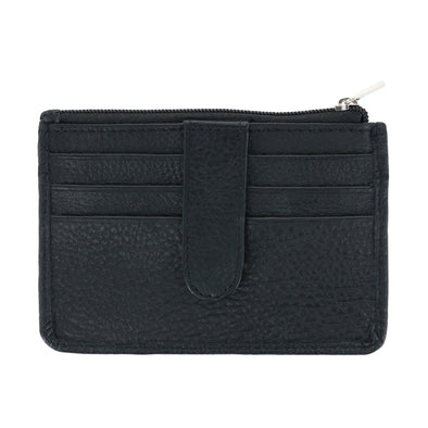 Leather Card Case Wallet with Snap Closure and ID