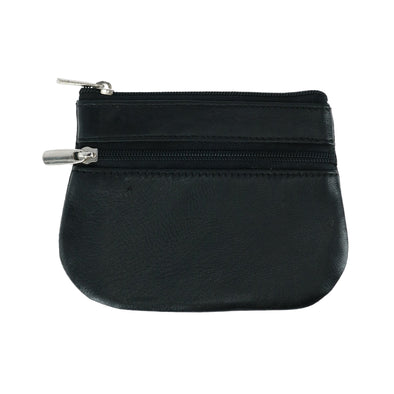 Leather Zipper Coin Pouch Wallet