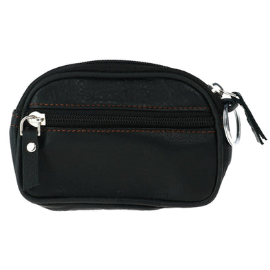 Leather Coin Pouch with Double Zipper