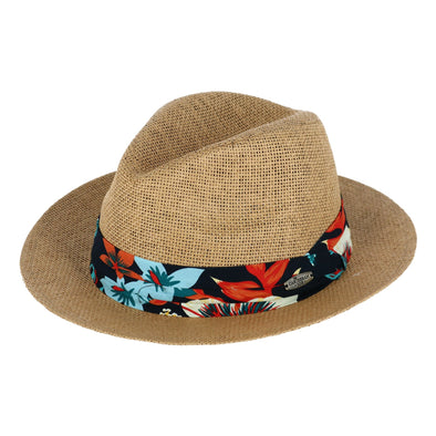 Men's Paper Straw Safari Hat with Tropical Print Band