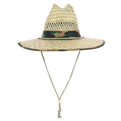 Kid's Rush Straw Lifeguard Hat with Camo Trim
