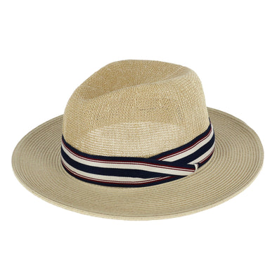 Men's Paper Braid Safari Hat with Striped Band
