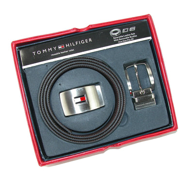 Men's Reversible Leather Belt and Buckles Boxed Gift Set