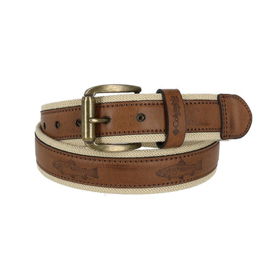 Men's Stretch Belt with Fish Embossed Overlay