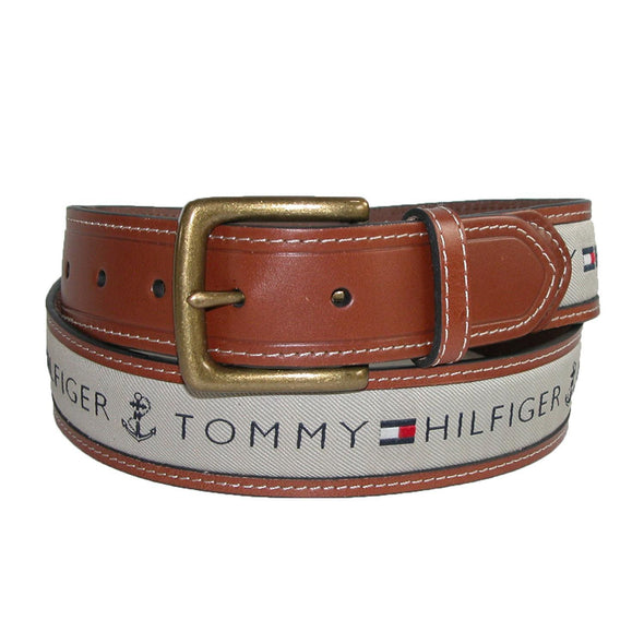 Men's Leather Casual Belt with Fabric Inlay