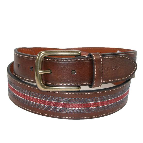 Men's Leather Contrast Stitch Stripe Inlay Belt