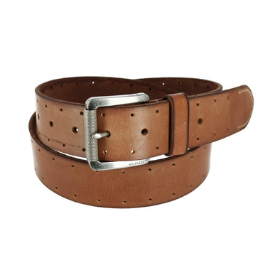 Men's Leather Bridle Belt with Perforations