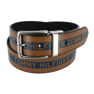 Men's Reversible Leather Belt Denim Logo
