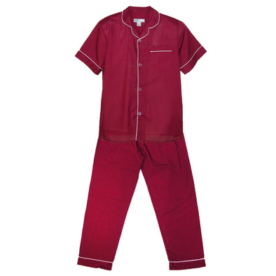 Men's Short Sleeve Long Leg Solid Pajama Set