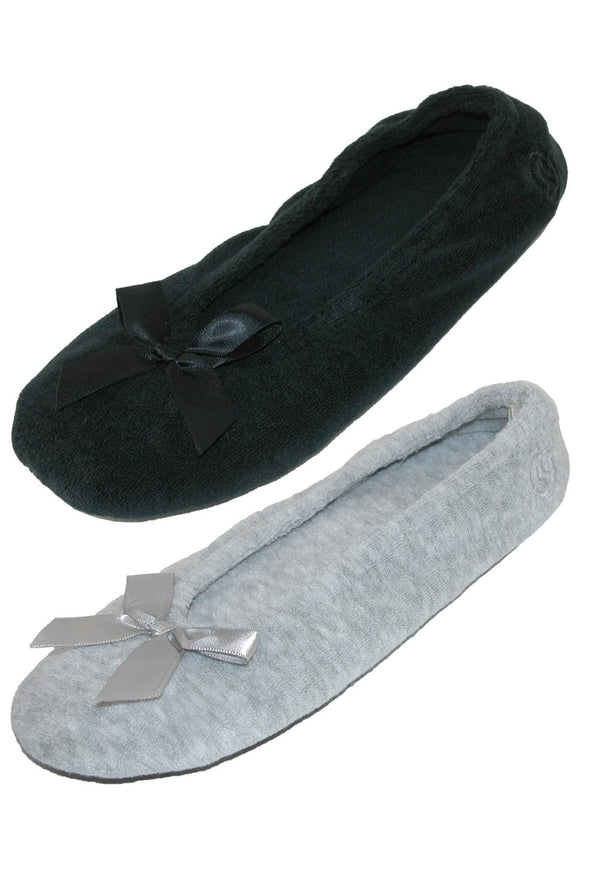 Women's Terry Classic Ballerina Slippers (Pack of 2)