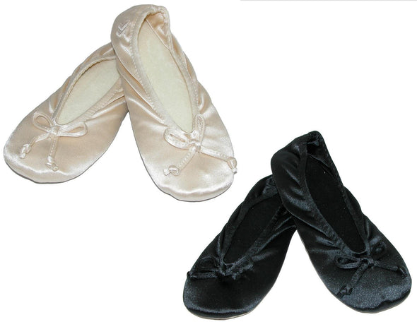 Women's Satin Plus Size Ballerina Slippers (Pack of 2)