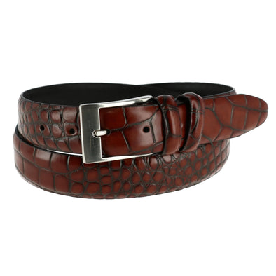 Men's Embossed Leather Croc Print Belt