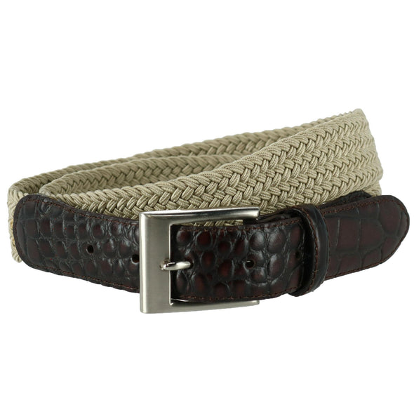 Men's Braided Elastic Stretch Belt with Croc Print End Tabs