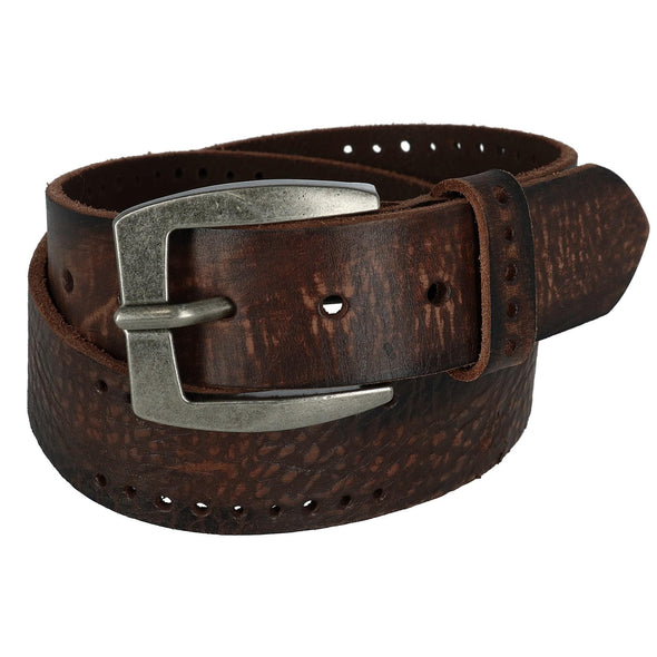 Men's Distressed Leather Bridle Belt with Perforations