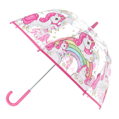 Kid's Transparent Unicorn Print Bubble Umbrella