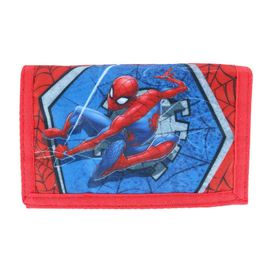 Kid's Marvel Spiderman and Web Wallet with Hook and Loop Closure