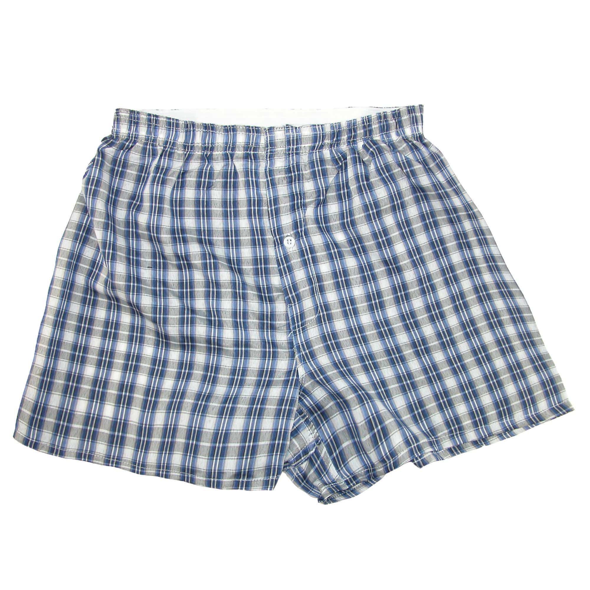 CTM  Men's Big and Tall Madras Plaid Boxer Shorts (Pack of 3)
