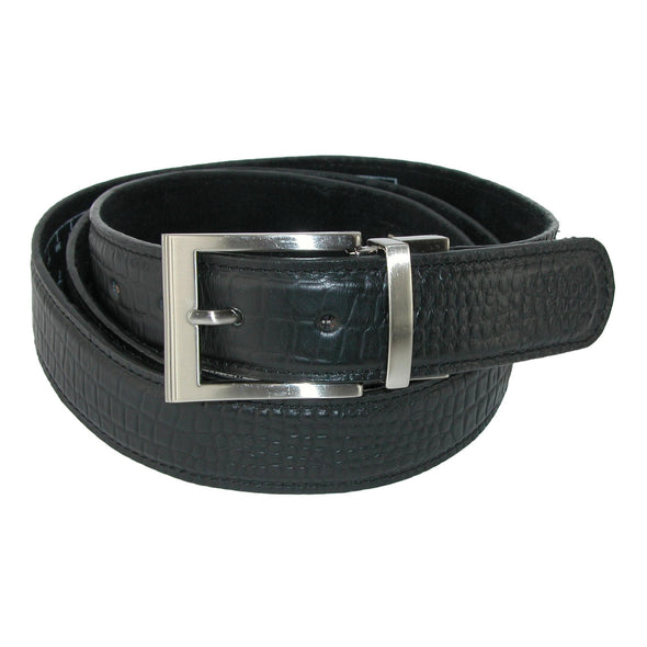 Men's Leather Croc Print 1 1/4 Inch Travel Money Belt