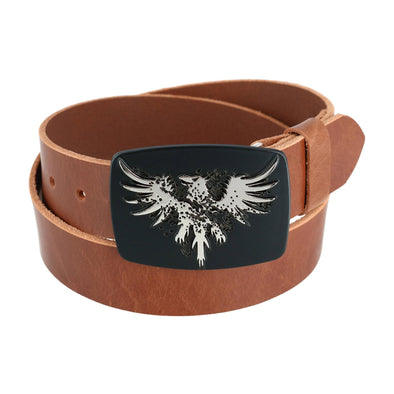 Men's Leather Bridle Belt with Phoenix Belt Buckle (2 Buckle Set)