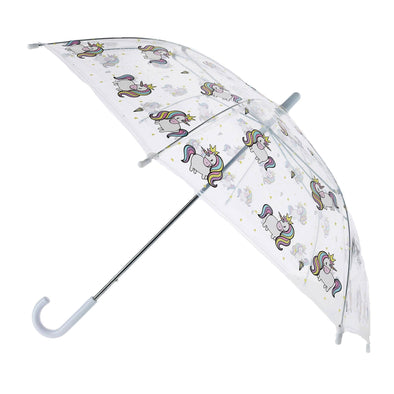 Kid's Unicorn Print Clear Stick Umbrella with Hook Handle