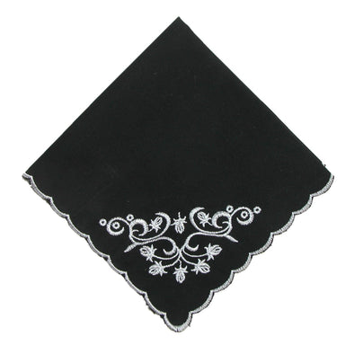 Women's Cotton Black and White Floral Scroll Handkerchief
