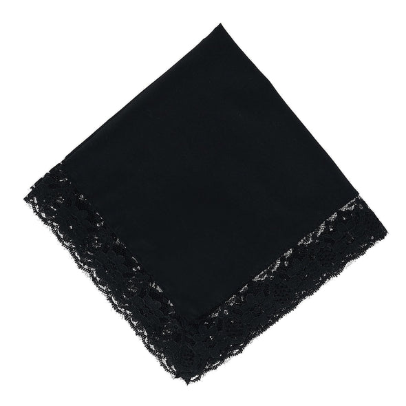 Women's Ebony Lace Border Handkerchief
