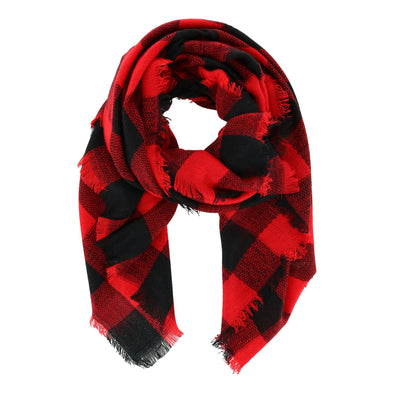 Women's Buffalo Plaid Convertible Square Blanket Scarf