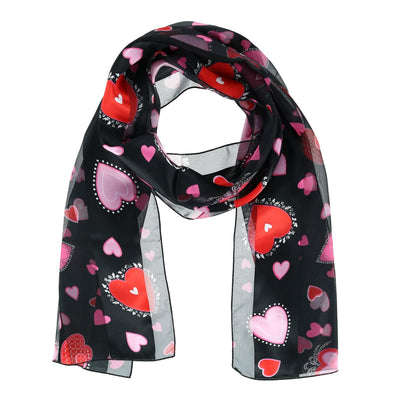 Women's Valentine's Day Heart Print Holiday Lightweight Scarf