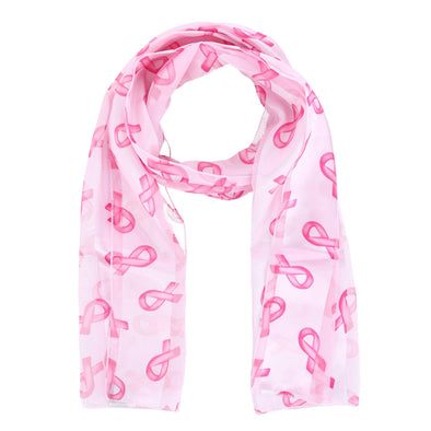Women's Breast Cancer Ribbon Print Lightweight Scarf