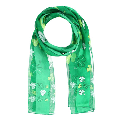 Women's St. Patrick's Day Clover Print Holiday Lightweight Scarf