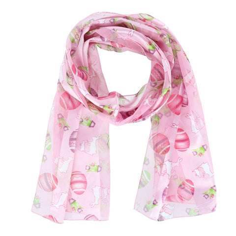 Women's Easter Bunny and Egg Print Holiday Lightweight Scarf