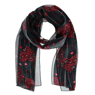 Women's Valentine's Day Heart and Stripe Print Holiday Lightweight Scarf