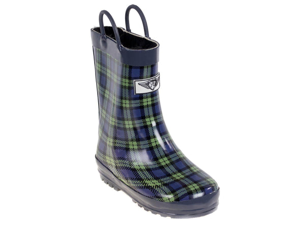 Kid's Rubber Pull Up Plaid Print Rainboots