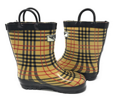 Kid's Rubber Pull Up Checker Plaid Print Rainboots