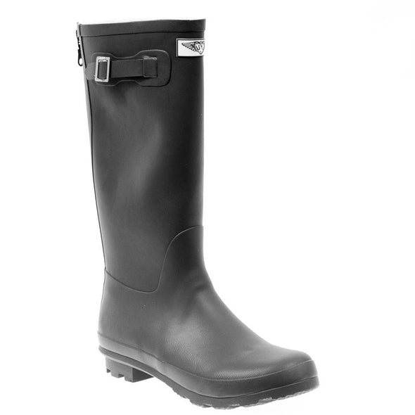 Women's Solid Black Tall Rubber Rain Boots
