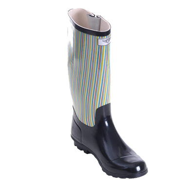 Women's Striped Tall Rubber Rain Boots