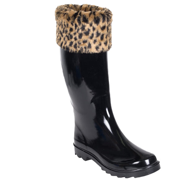 Women's Solid Black Rubber Rain Boot with Leopard Print Cuff