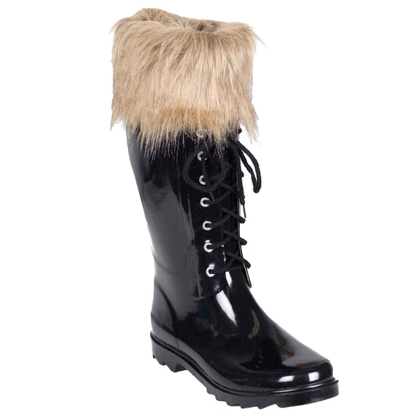 Women's Solid Black Rubber Rain Boot with Faux Fur Cuff